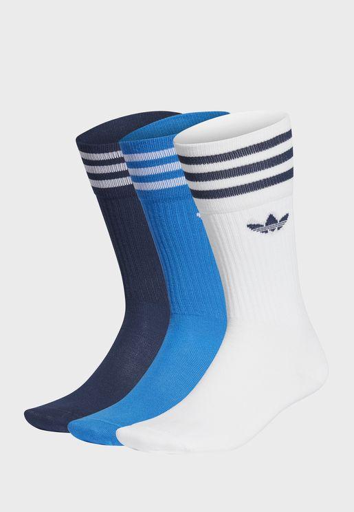 Solid Adicolor Casual Unisex Crew Socks