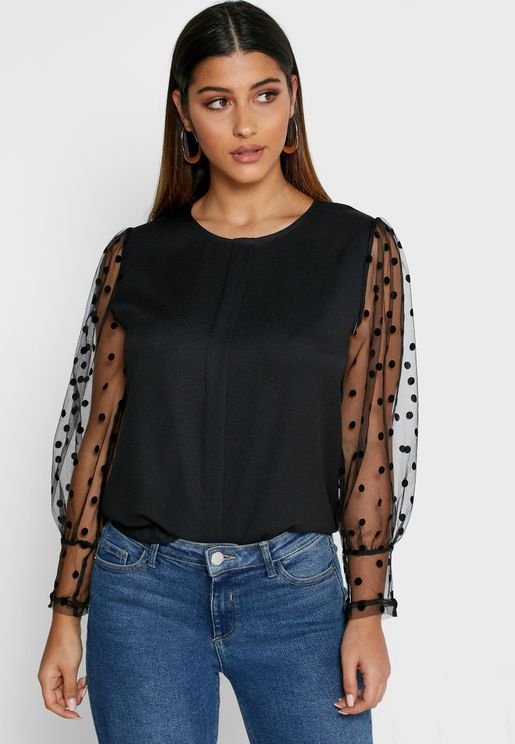 Dotted Sheer Sleeve Top