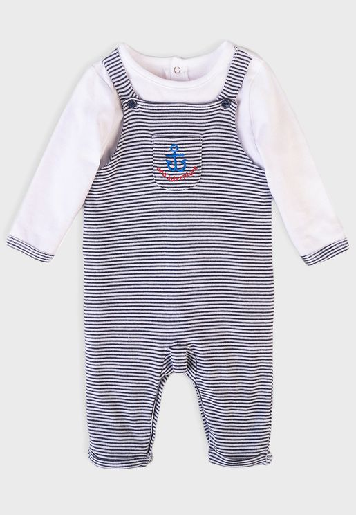 Infant Mock Dungaree Sleepsuit
