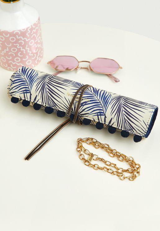 Blue Palm Print Jewellery Roll