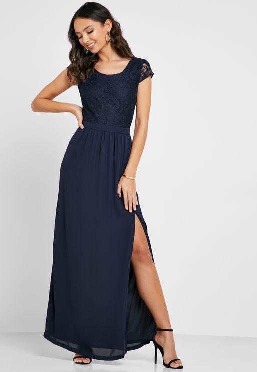 فستان ماكسي بطيات