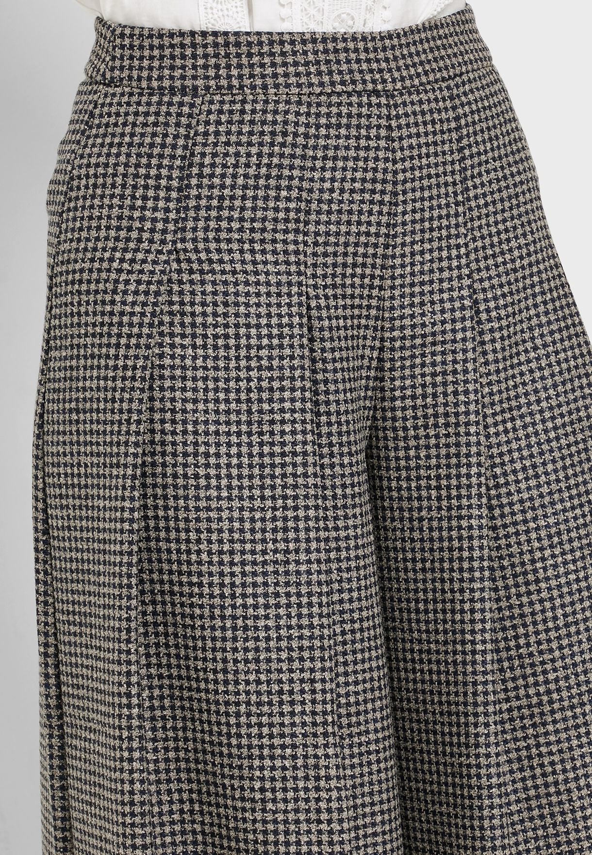 Gingham Pleated Culotte Pants