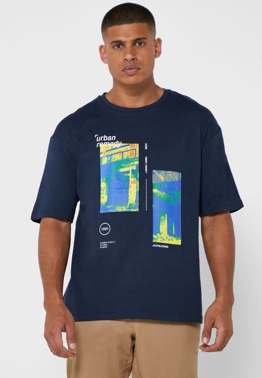Graphic Box Fit Crew Neck T-Shirt