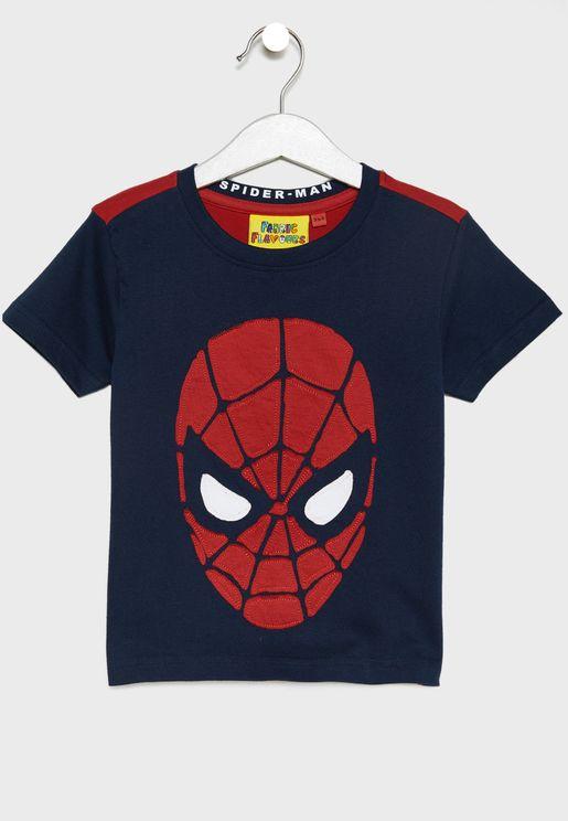 Kids Spiderman Face T-Shirt