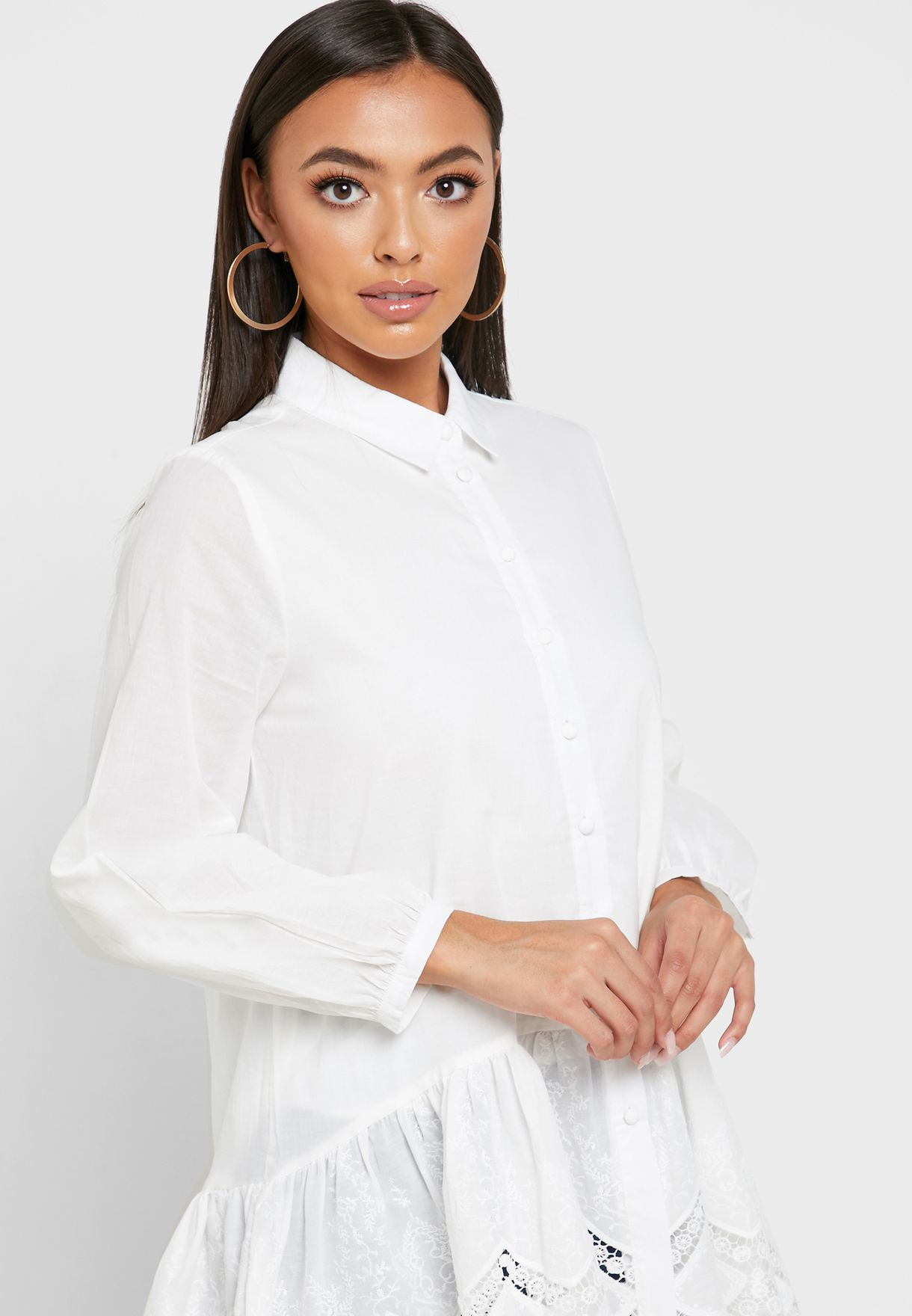 Ruffle Detail Scallop Shirt