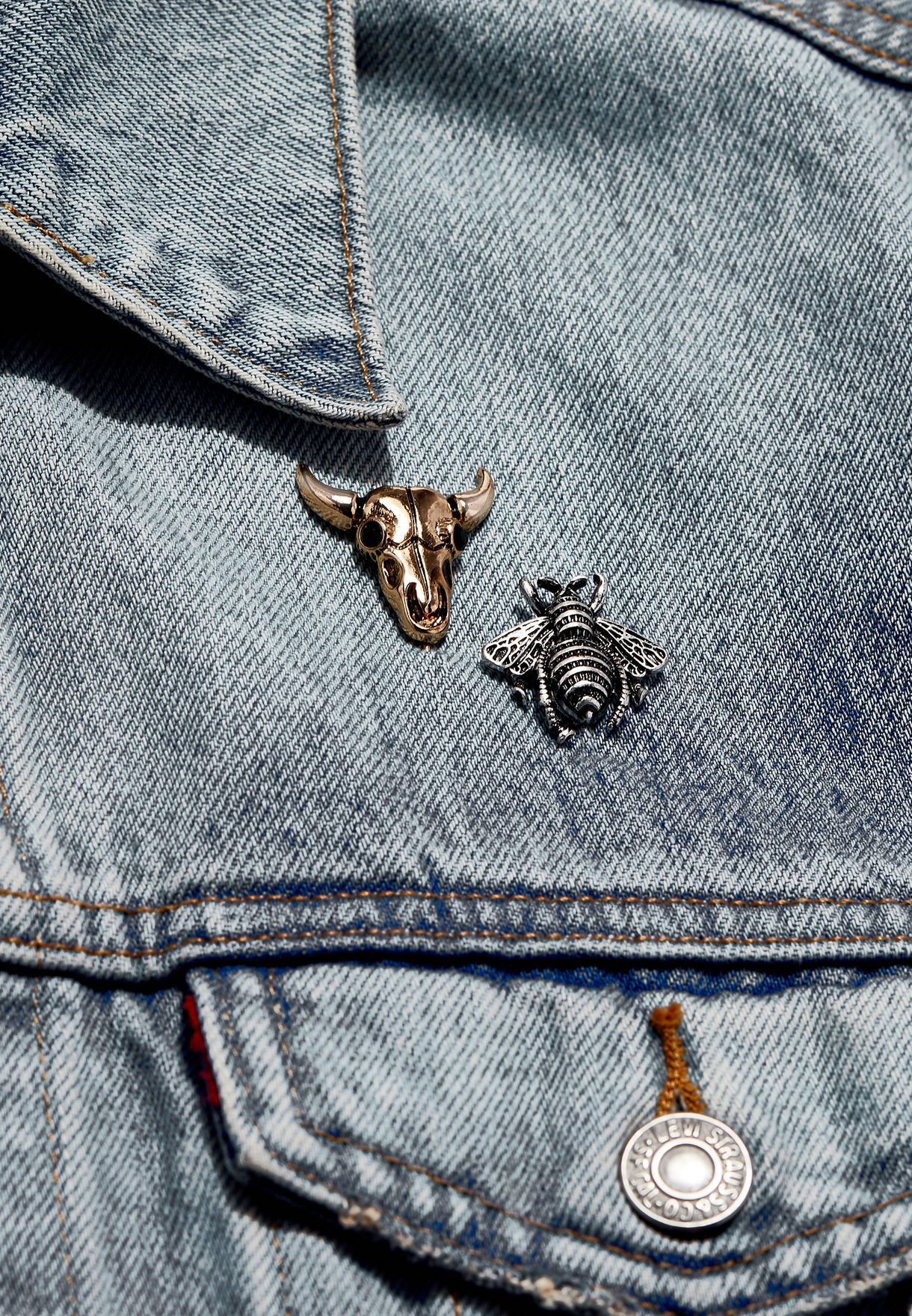 2 Pack Bee and Bull Lapel Pin