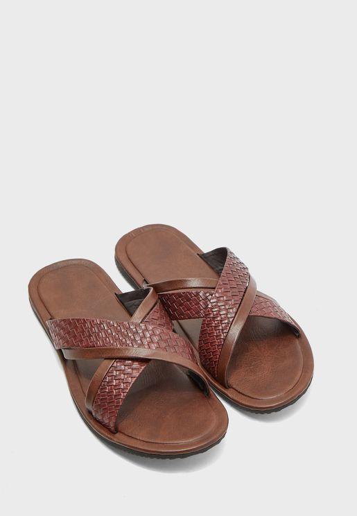 Weaved Cross Strap Sandals