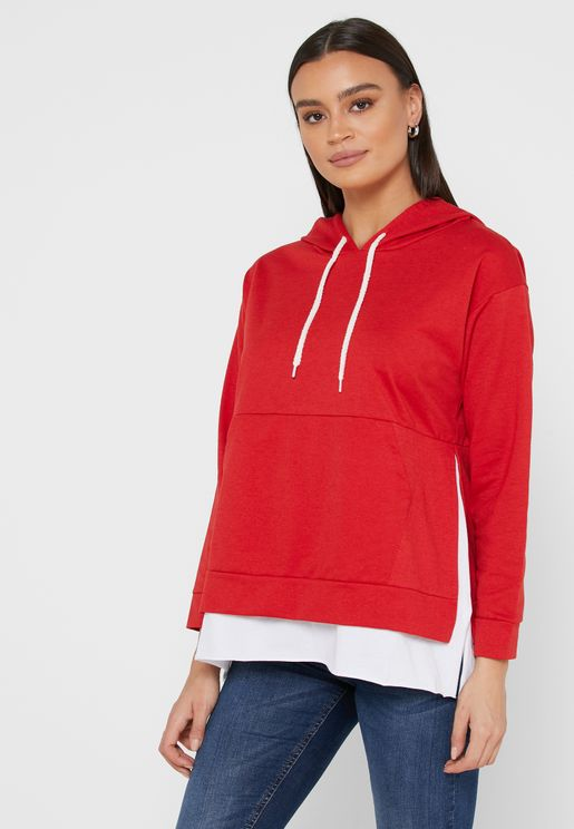 Side Slit Layered Hoodie