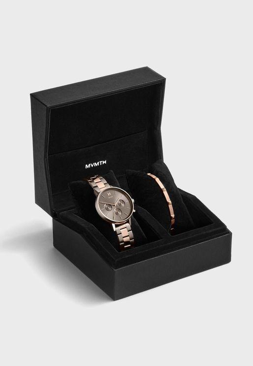 Multistrap Voyager Analog Watch Gift Set