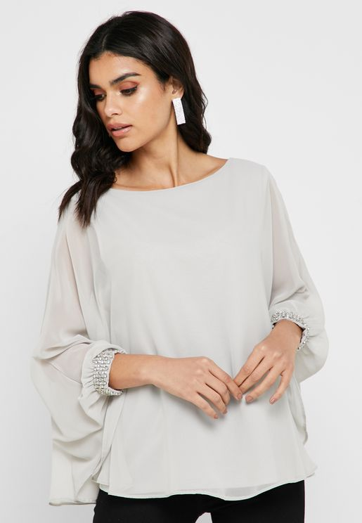 Sequin Cuff Overlay Top