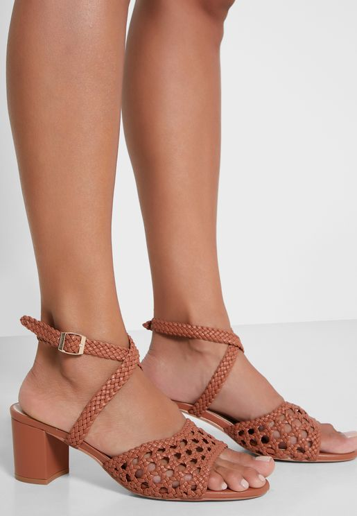 Mini Weaved Cross Strap Block Heel Sandal