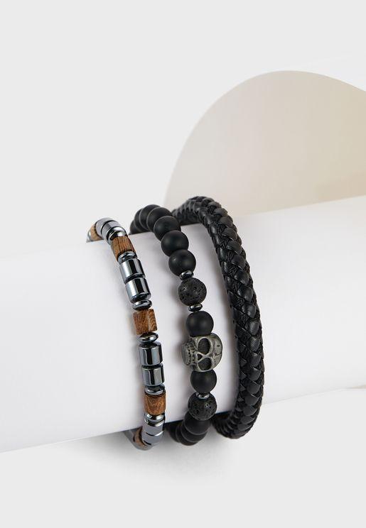 3 Pack Skull Bead Bracelet Set