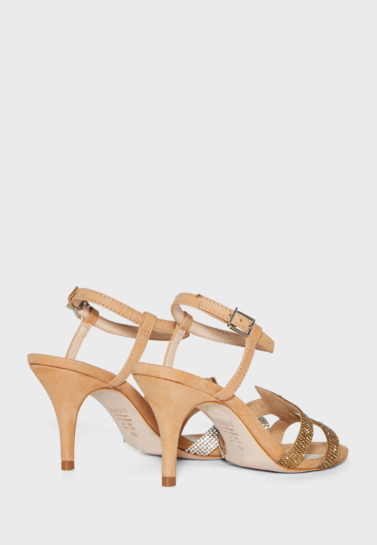 Schutz Ankle Strap Buckle Detail Sandal - Honey Beige Brand Shoes