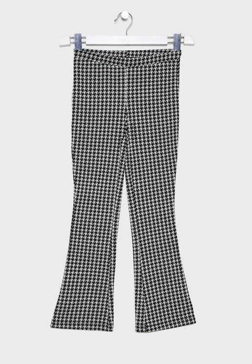 Teen Bell Bottom Checked Trouser