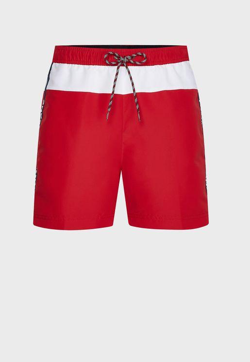 Logo Stripe Swim Shorts