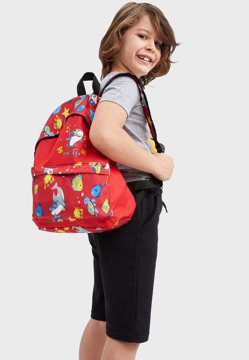 Kids Fish Print Backpack