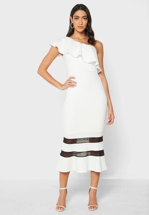 فستان مخطط بكتف واحد