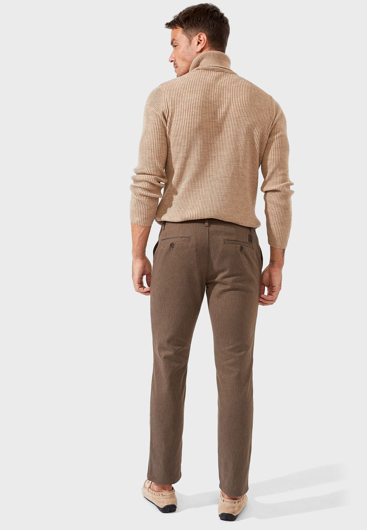 Textured Straight Trousers