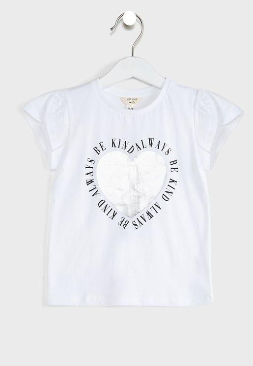Kids Tulip Sleeve Slogan T-Shirt