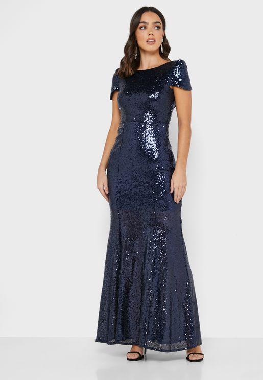 فستان ماكسي مزين بالترتر