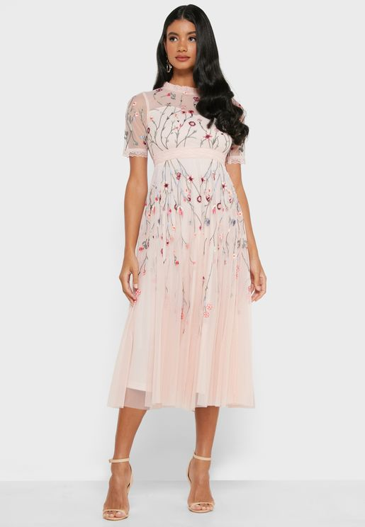 Mesh Sleeve Embroidered Dress