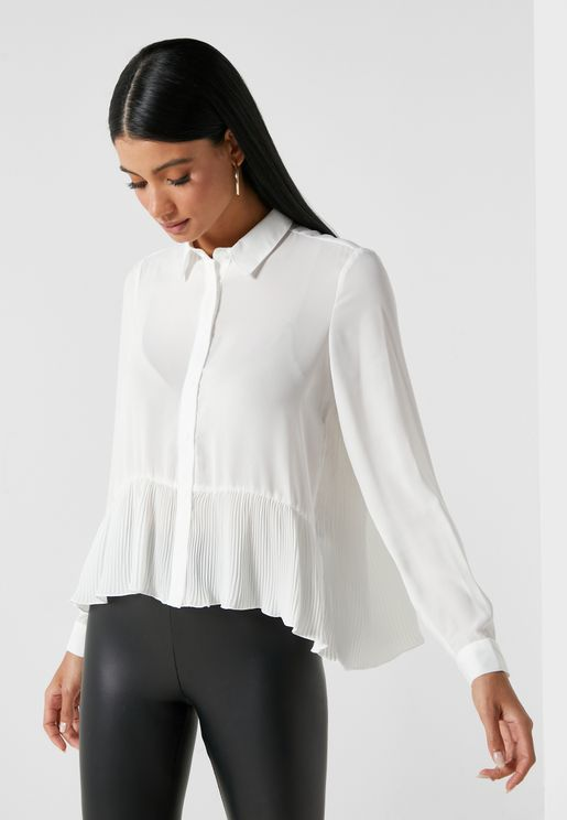 Button Down Peplum Shirt