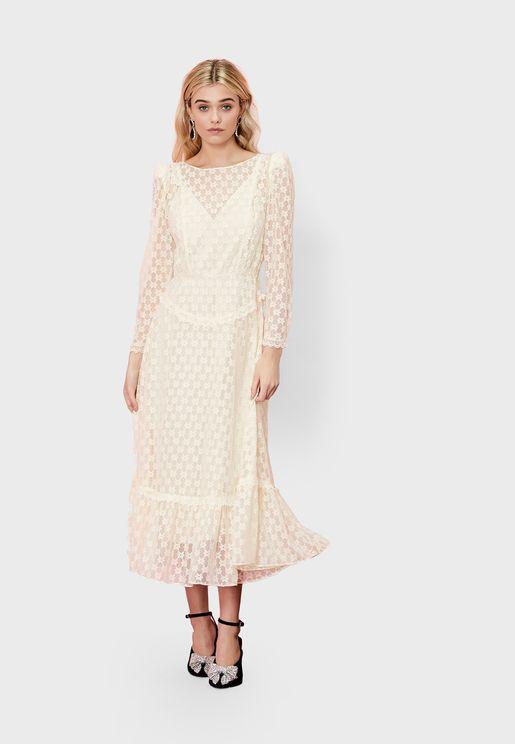 Mesh Sleeve Lace Dress