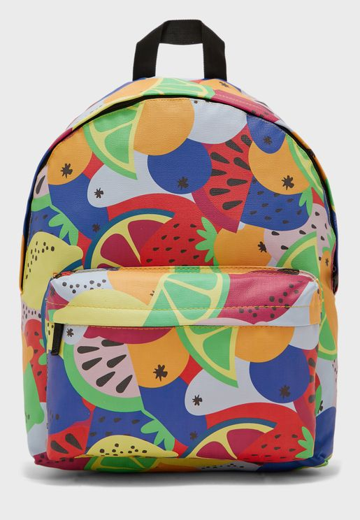Printed Top Zip Backpack