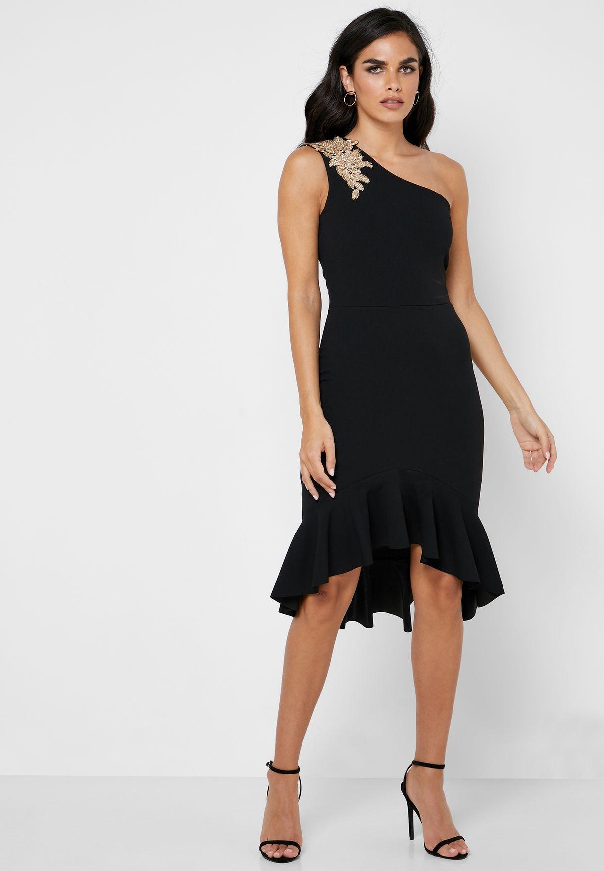 7f508d3efe4 One Shoulder High Low Frill Hem Detail Dress