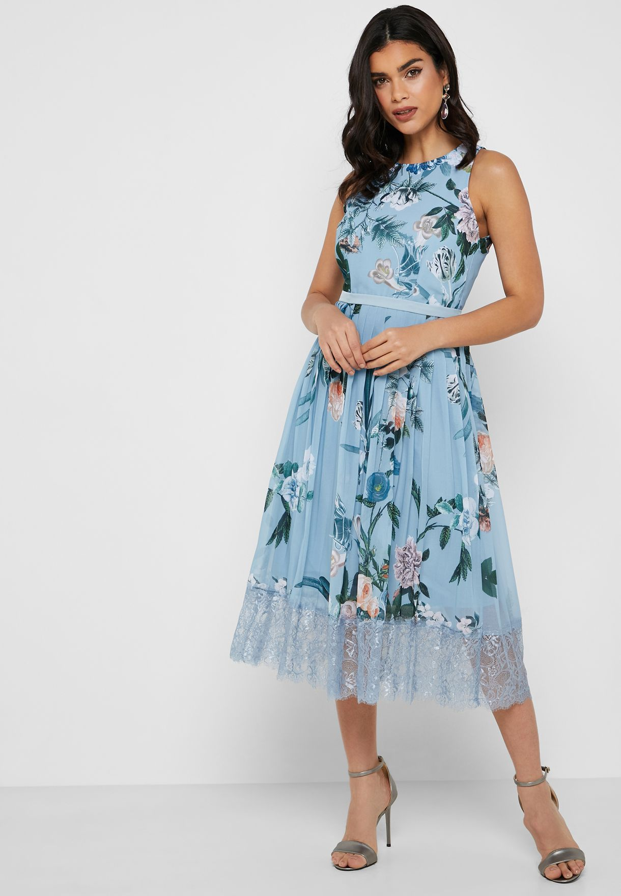 Floral Print Lace Trim Pleated Dress