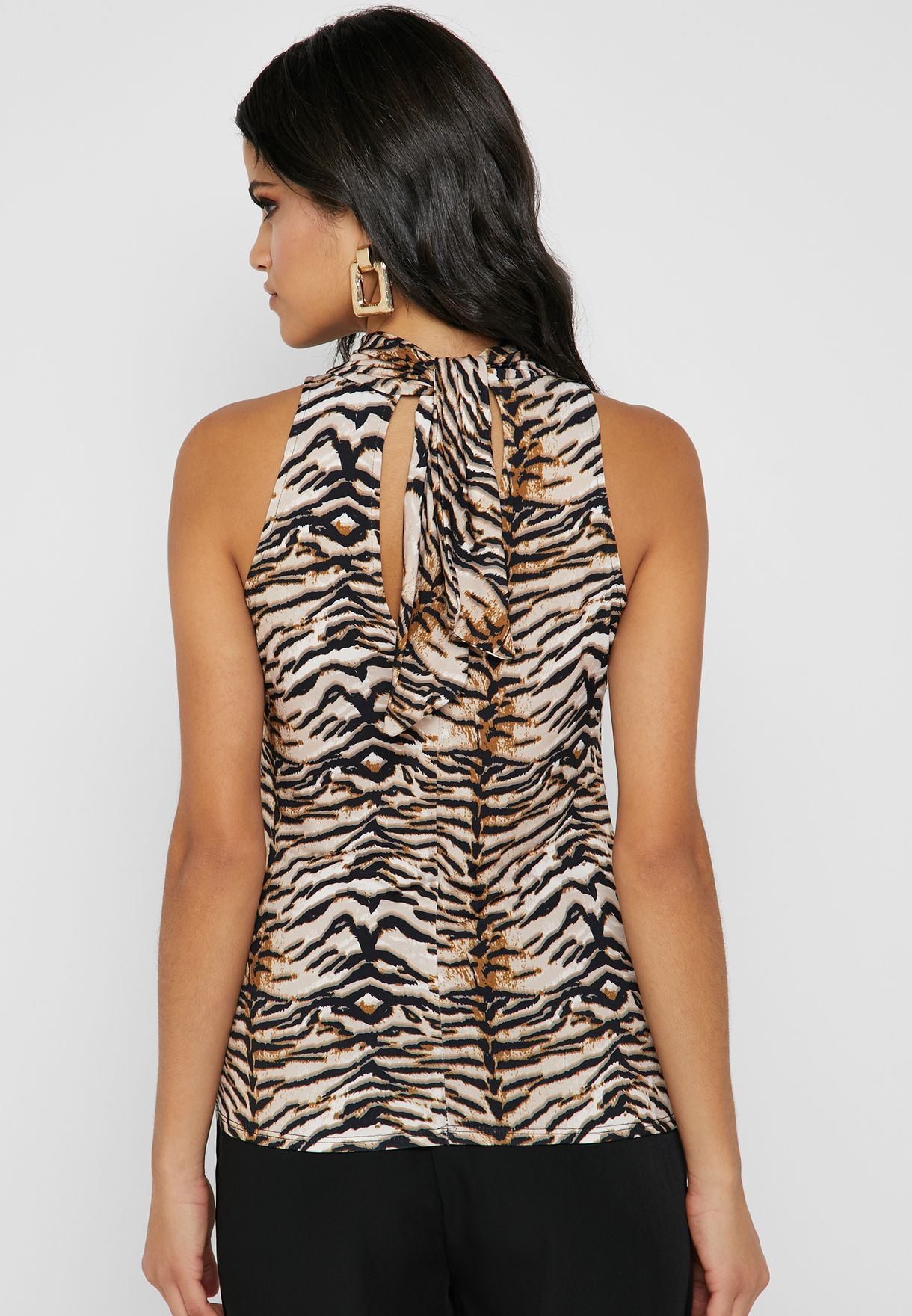 Halter Neck Tiger Print Top