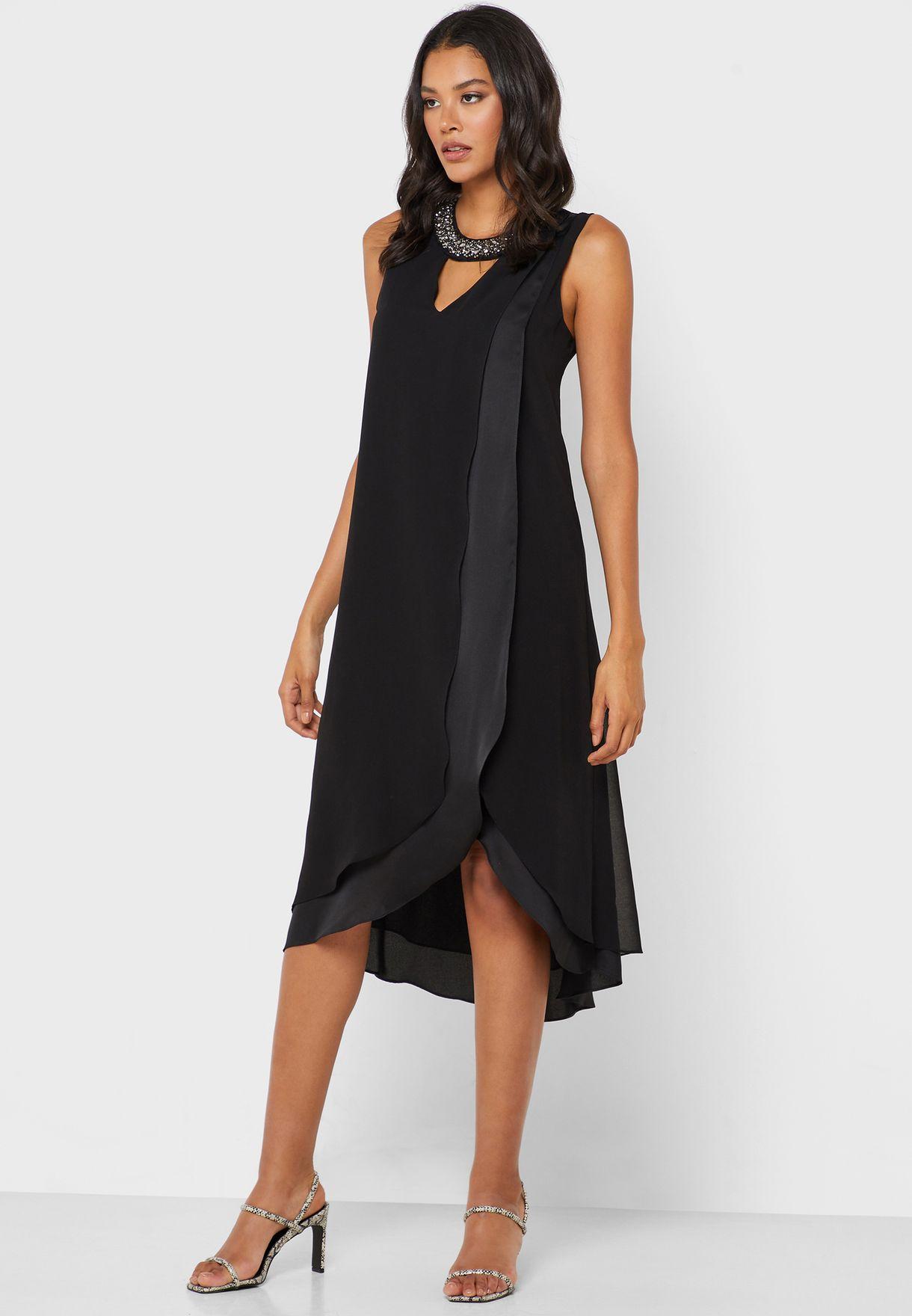 Asymmetric Embellished Neck Dress