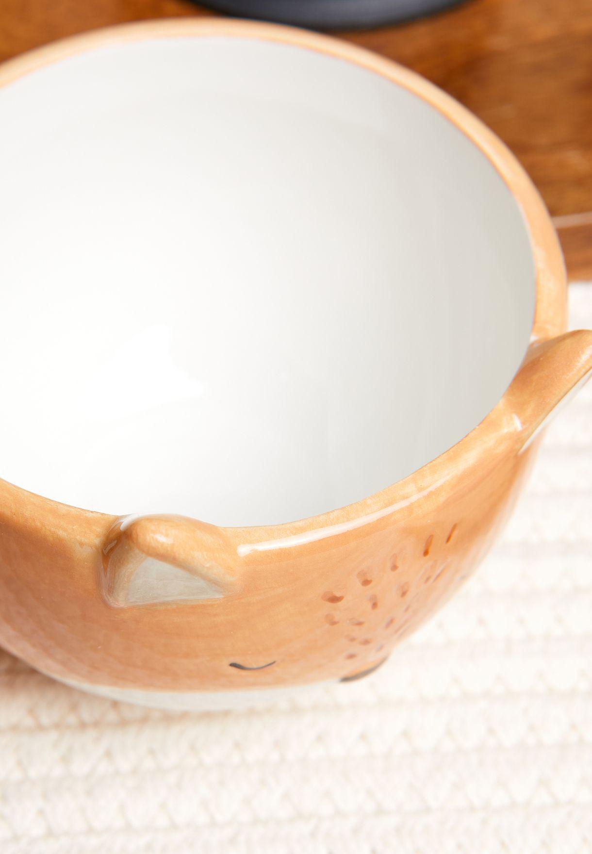 طقم فنجان وصحن مزين بشكل ثعلب