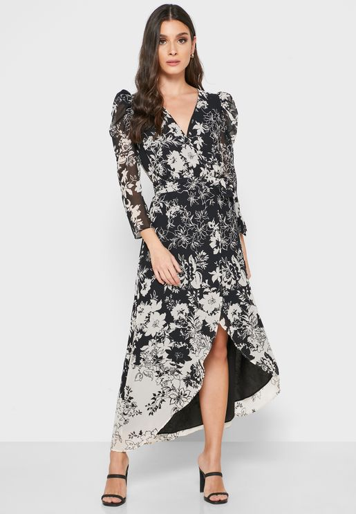 Floral Print Sheer Sleeve Dress