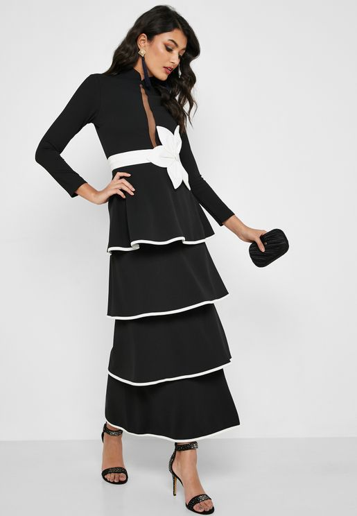 ecacd22967 Contrast Piping Tiered Dress