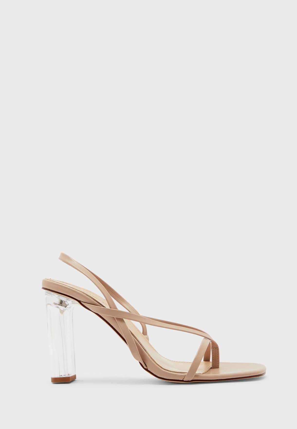 Square Toe Skinny Strap Feature Heel Sandal