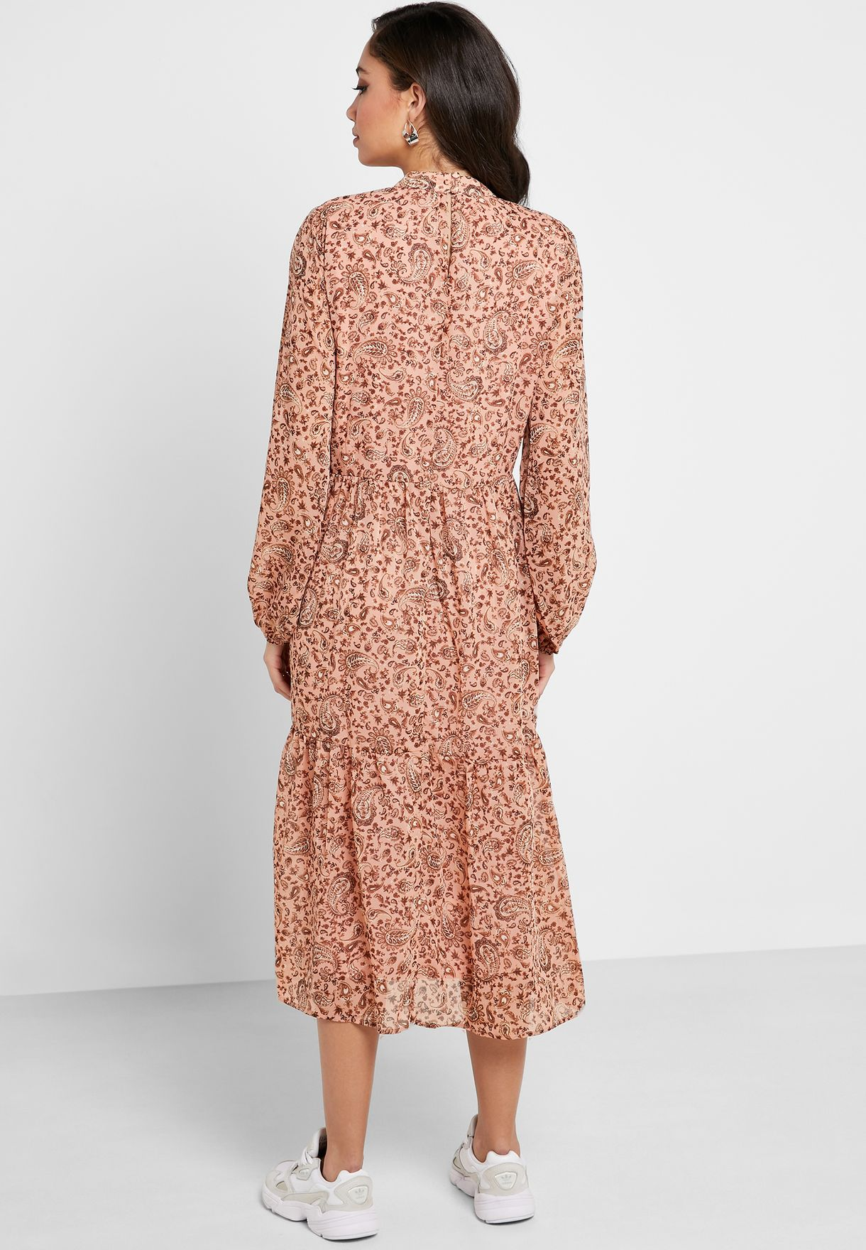 Printed Pleated High Neck Dress