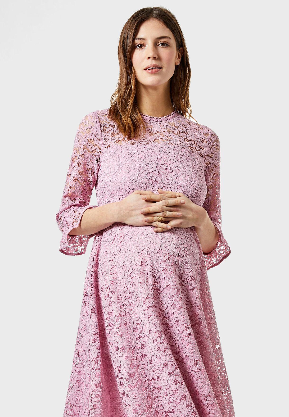 Ruffle Trim Lace Dress
