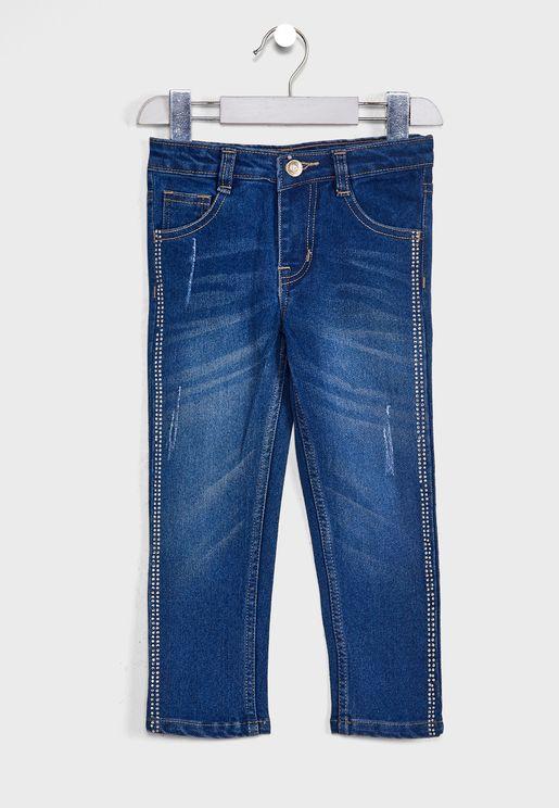 جينز بدبابيس جانبية