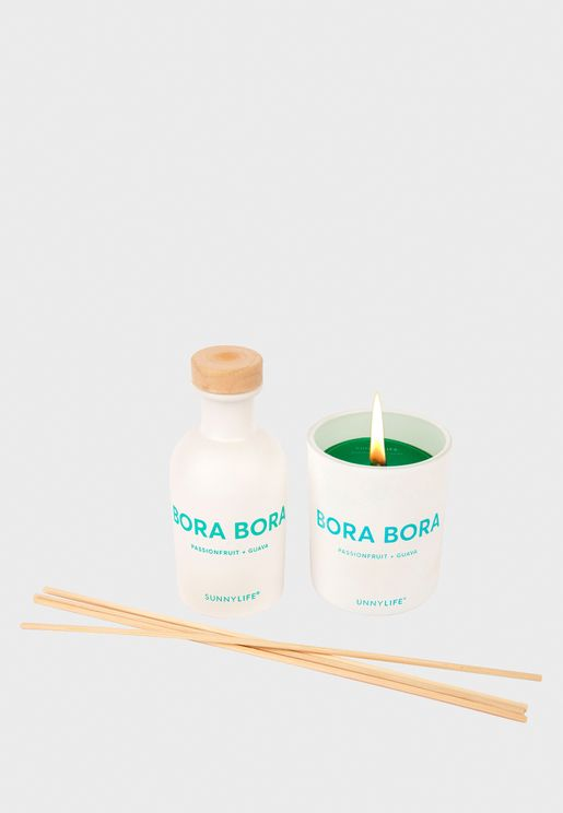 Passionfruit And Guava Bora Candle And Diffuser Set