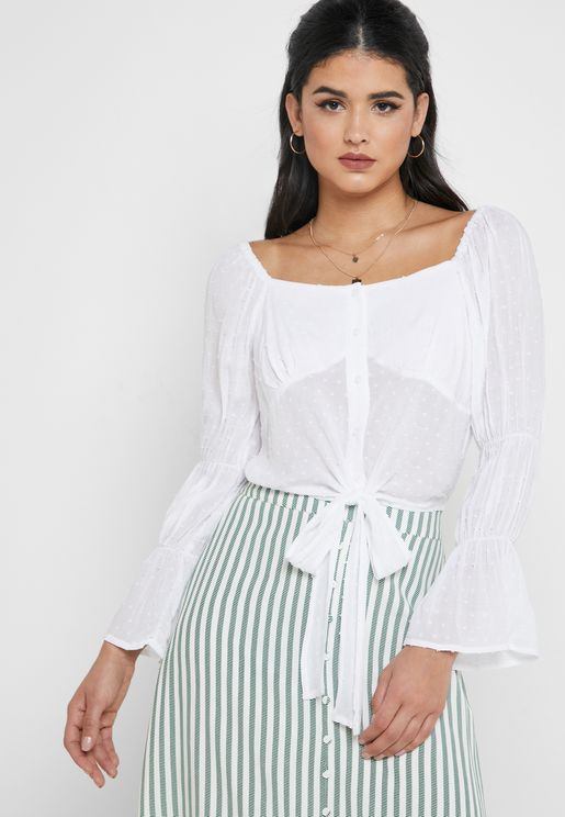 Front Knot Flute Sleeve Cropped Top