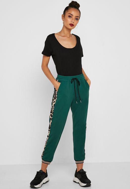 Leopard Print Side Paneled Jogger Pants