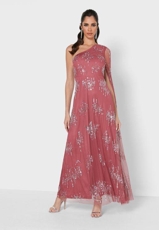 فستان بكتف واحد وترتر