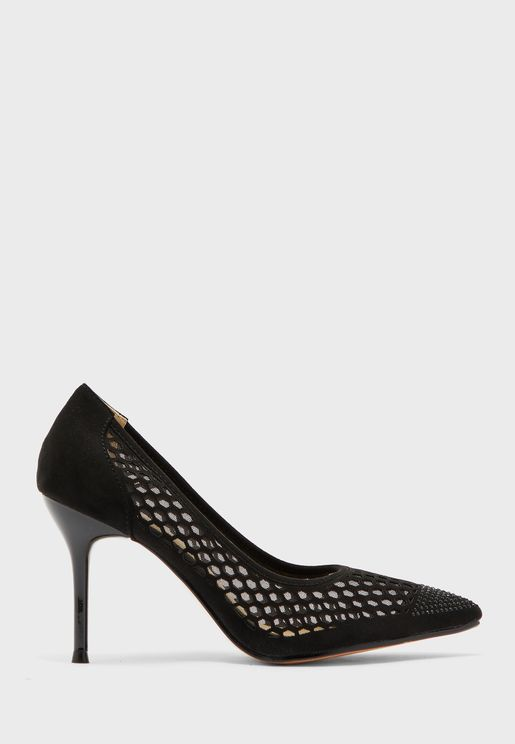 Diamante Toe Cutout Pumps