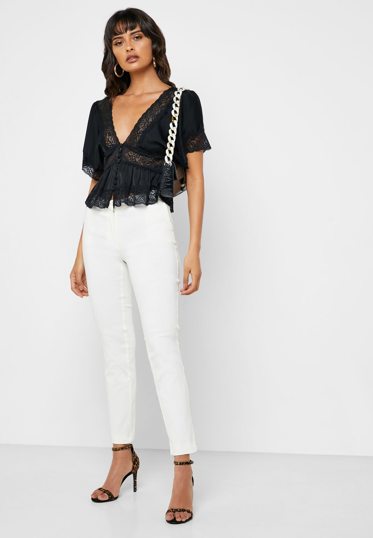 Lace Trim Plunge Top