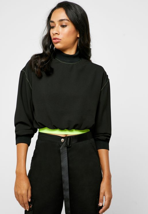 High Neck Cropped Hoodie