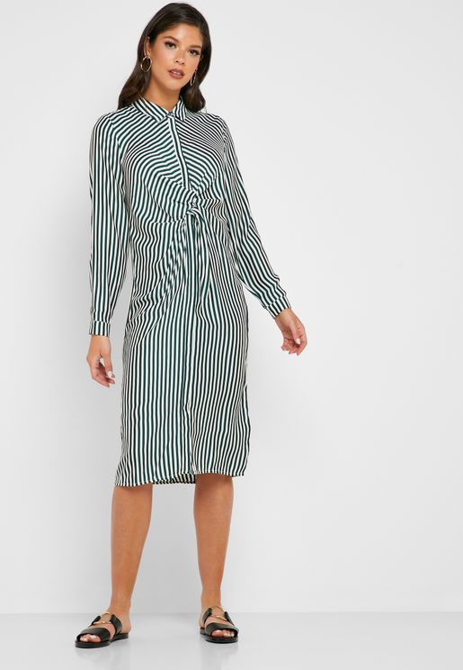 Front Twisted Striped Shirt Dress