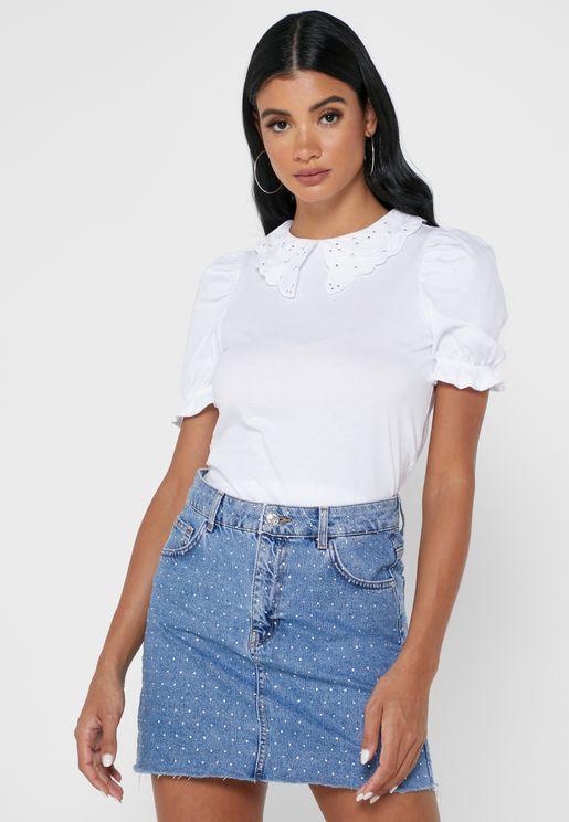 Collared Puff Sleeve T-Shirt