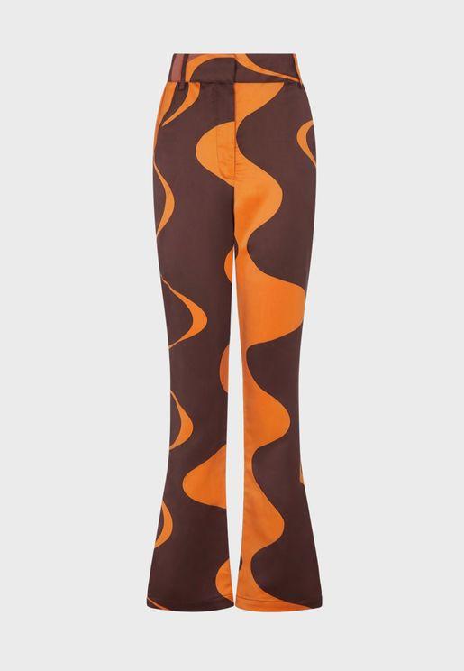 High Waist Printed Pants
