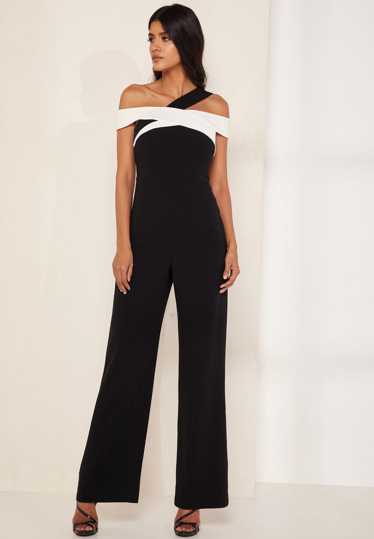 0cf00e83893 Shop Karen Millen black Colourblock Bardot Jumpsuit PE013 for Women ...